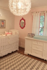 Nursery-Rooms-Light-Pink-And-Polkadot-Wall-Decal-Sophisticated-Nursery-Room-Decoration-With-White-Convertible-Baby-Crib-And-White-Drawer-Also-Unique-Pendant-Lamp-Trendy-Lighting-Bedroom-Design-Ideas